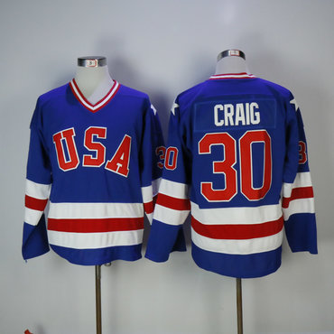 1980 Team USA #30 Craig Blue Olympic Throwback Stitched NHL Jersey