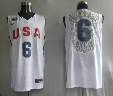 2010 USA Championship 6 Rose White Jerseys