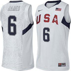 2008 USA Basketball #6 LeBron James Swingman White Jersey