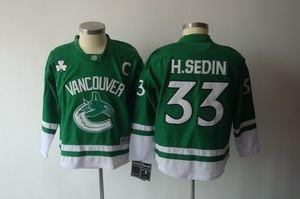 2011 st pattys day vancouver canucks 33 h.sedin c patch green jerseys