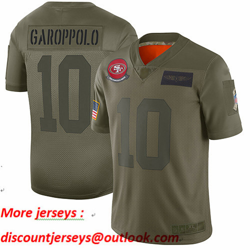 49ers #10 Jimmy Garoppolo Camo Youth Stitched Football Limited 2019 Salute to Service Jersey