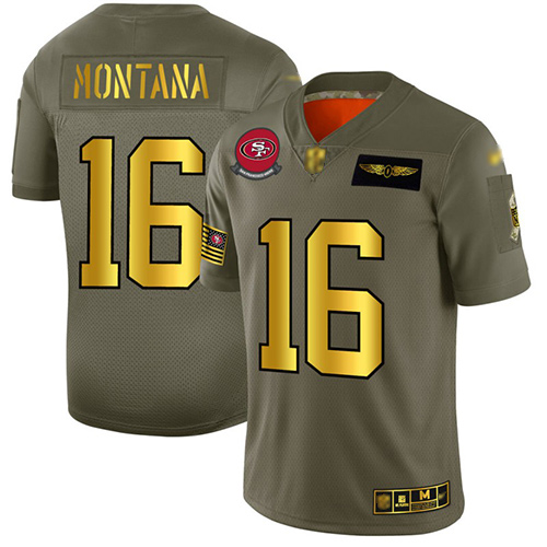 49ers #16 Joe Montana Camo Gold Men's Stitched Football Limited 2019 Salute To Service Jersey