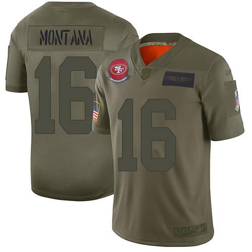 49ers #16 Joe Montana Camo Men's Stitched Football Limited www.usanfljerseys.net 2019 Salute To Service Jersey