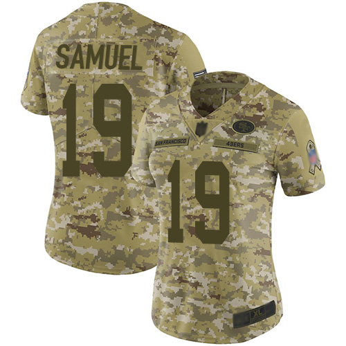 49ers #19 Deebo Samuel Camo Women's Stitched Football Limited 2018 Salute to Service Jersey