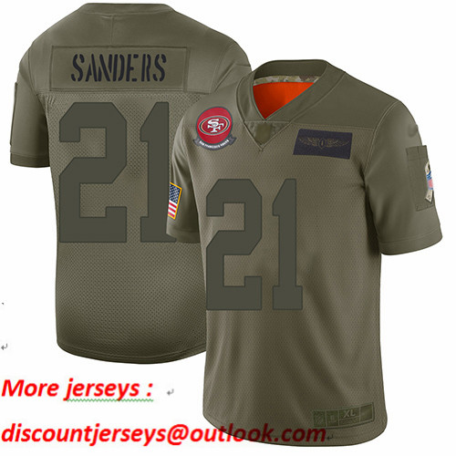 49ers #21 Deion Sanders Camo Youth Stitched Football Limited 2019 Salute to Service Jersey