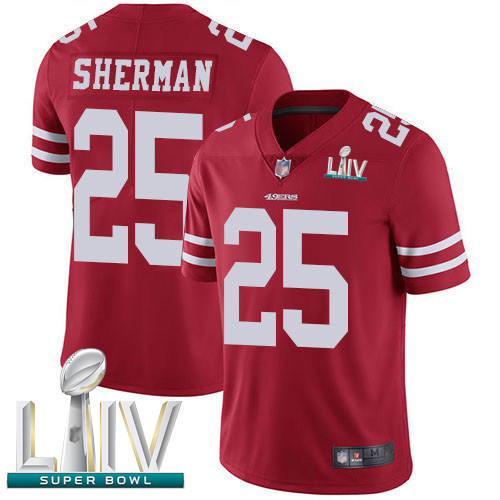 49ers #25 Richard Sherman Red Team Color Super Bowl LIV Bound Youth Stitched Football Vapor Untouchable Limited Jersey