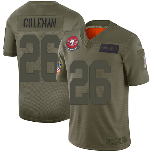 49ers #26 Tevin Coleman Camo Men's Stitched Football Limited 2019 Salute To Service Jersey