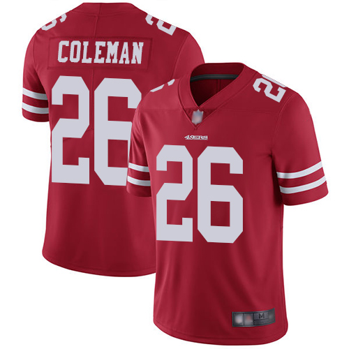 49ers #26 Tevin Coleman Red Team Color Men's Stitched Football Vapor Untouchable Limited Jersey