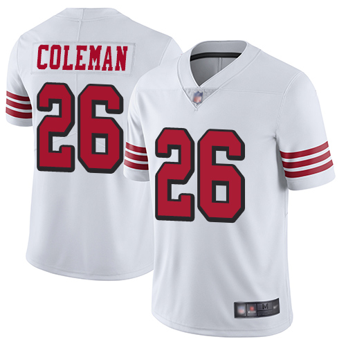 49ers #26 Tevin Coleman White Rush Men's Stitched Football Vapor Untouchable Limited Jersey