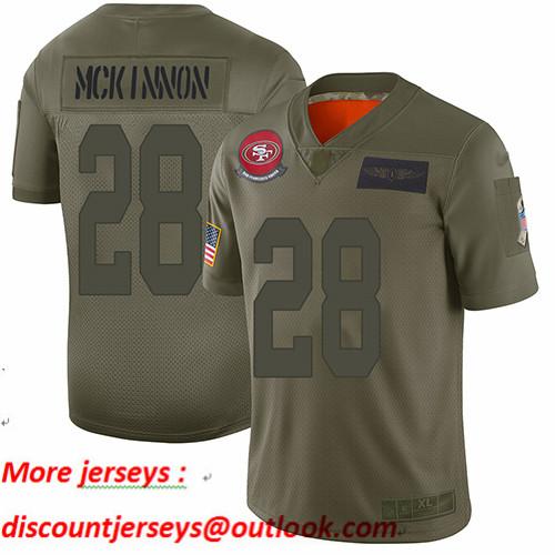 49ers #28 Jerick McKinnon Camo Youth Stitched Football Limited 2019 Salute to Service Jersey