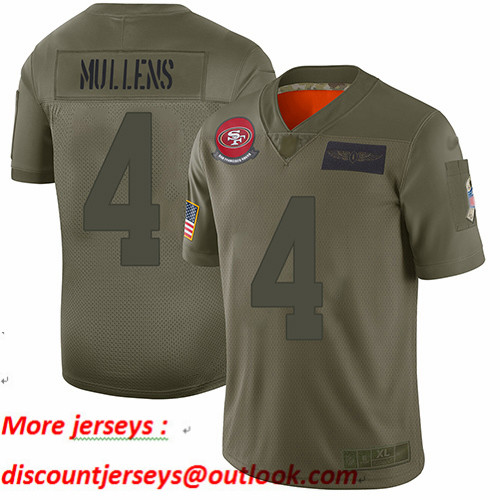 49ers #4 Nick Mullens Camo Youth Stitched Football Limited 2019 Salute to Service Jersey