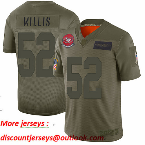 49ers #52 Patrick Willis Camo Youth Stitched Football Limited 2019 Salute to Service Jersey
