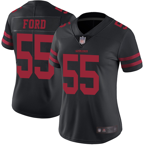 49ers #55 Dee Ford Black Alternate Women's Stitched Football Vapor Untouchable Limited Jersey