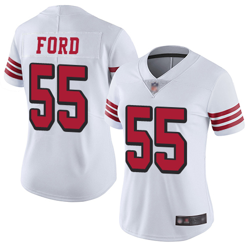 49ers #55 Dee Ford White Rush Women's Stitched Football Vapor Untouchable Limited Jersey