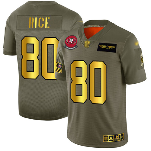 49ers #80 Jerry Rice Camo Gold Men's Stitched Football Limited 2019 Salute To Service Jersey