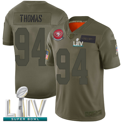 49ers #94 Solomon Thomas Camo Super Bowl LIV Bound Men's Stitched Football Limited 2019 Salute To Service Jersey