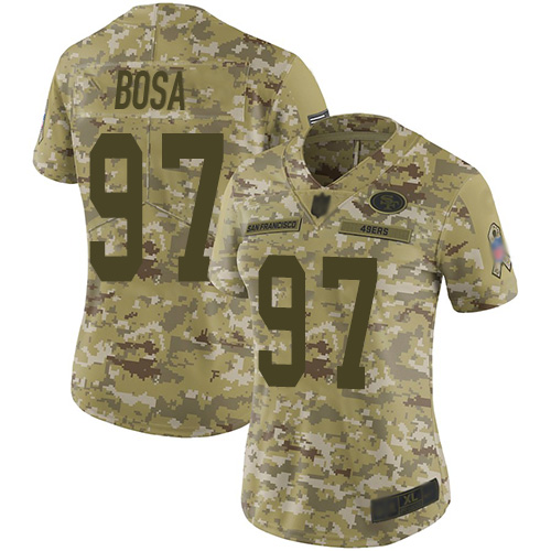 49ers #97 Nick Bosa Camo Women's Stitched Football Limited 2018 Salute to Service Jersey