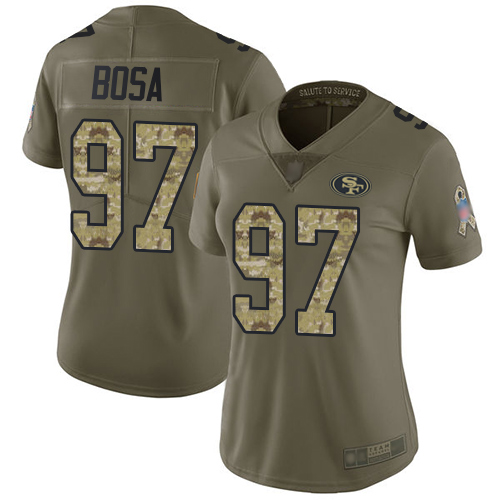 49ers #97 Nick Bosa Olive Camo Women's Stitched Football Limited 2017 Salute to Service Jersey