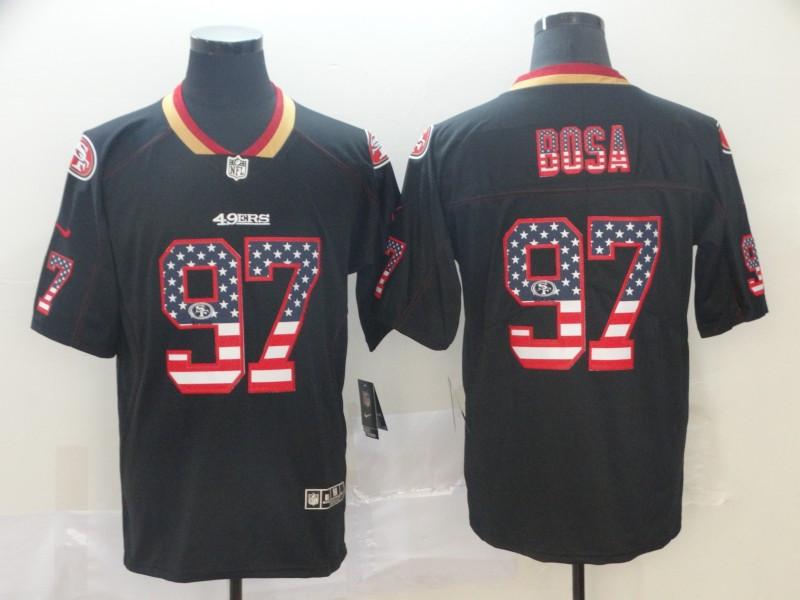 49ers 97 Nick Bosa Black USA Flag Fashion Limited Jersey