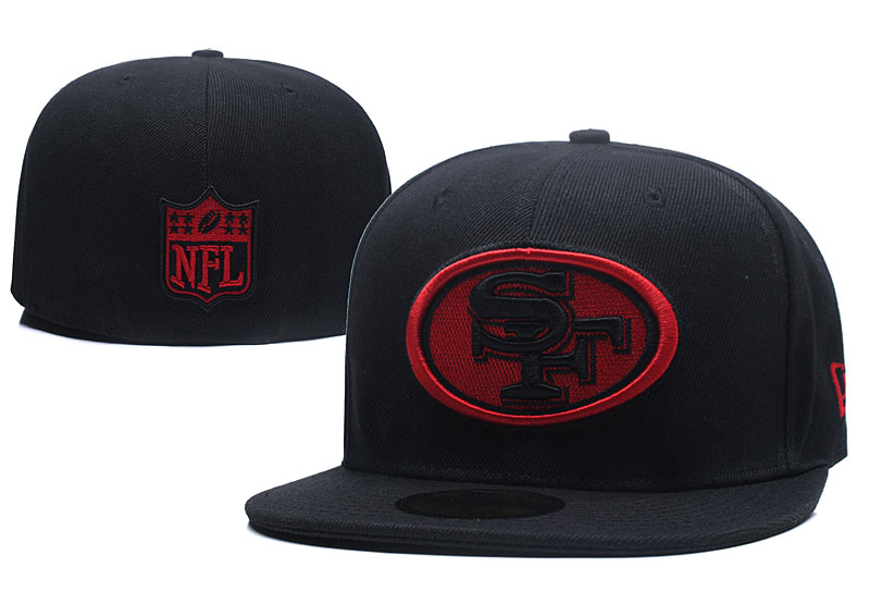 49ers Fresh Logo Black Fitted Hat LX