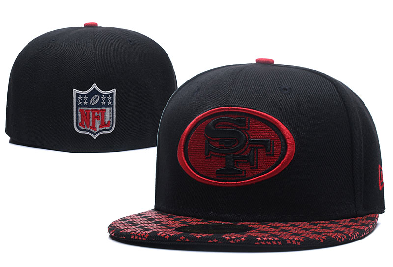 49ers Team Logo Black Fitted Hat LX