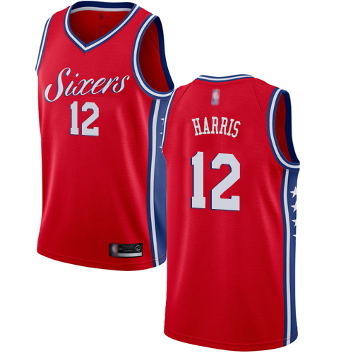 76ers #12 Tobias Harris Red Basketball Swingman Statement Edition Jersey