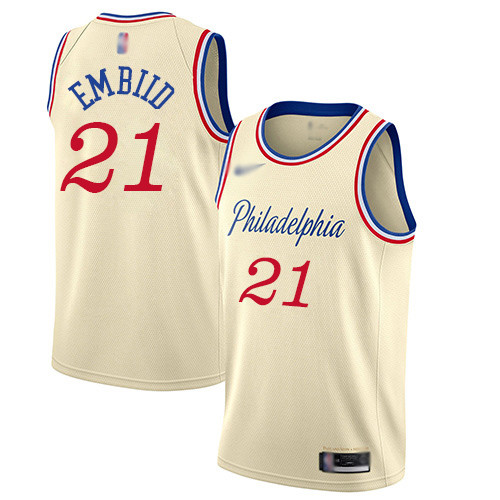 76ers #21 Joel Embiid Cream Basketball Swingman City Edition 2019 20 Jersey