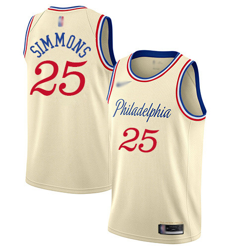 76ers #25 Ben Simmons Cream Basketball Swingman City Edition 2019 20 Jersey