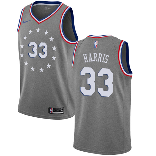 76ers #33 Tobias Harris Gray Basketball Swingman City Edition 2018 19 Jersey