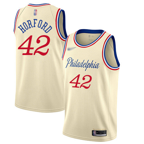 76ers #42 Al Horford Cream Basketball Swingman City Edition 2019 20 Jersey