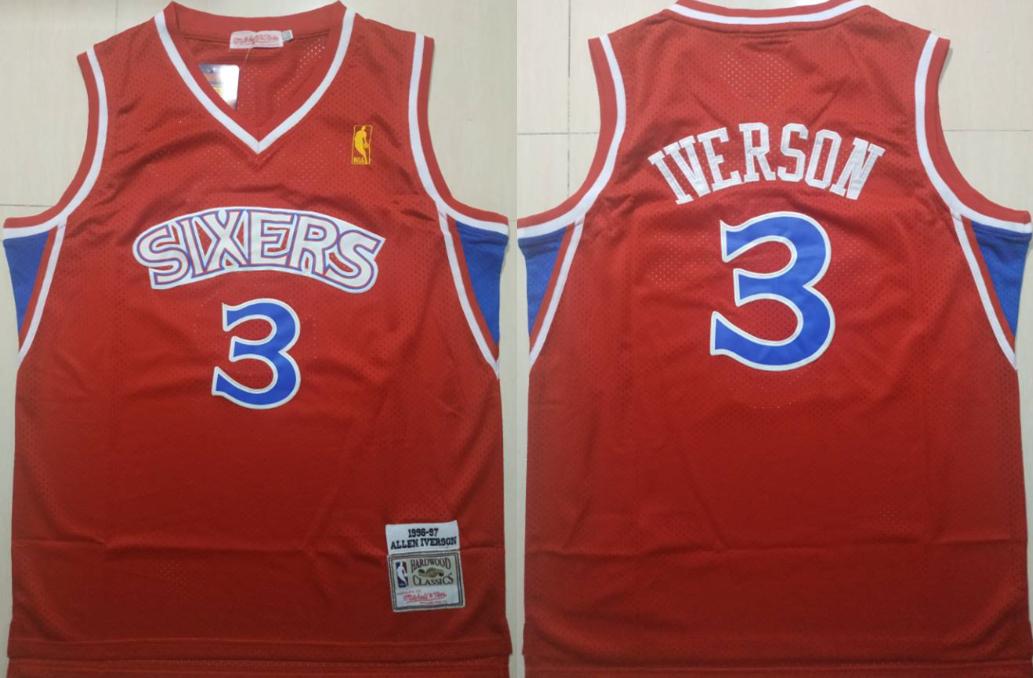 76ers 3 Allen Iverson Red 1996-97 Hardwood Classics Jersey