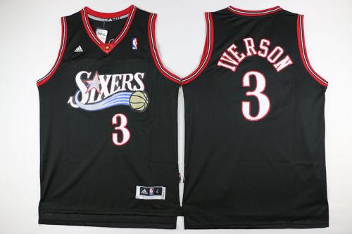 76ers 3 Allen Iverson black jersey