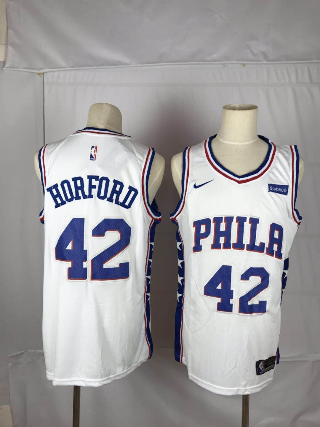 76ers 42 Al Horford White Nike Throwback Swingman Jersey