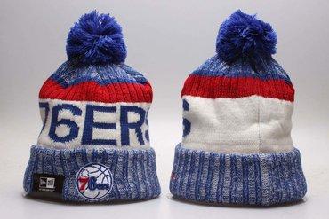 76ers Fresh Logo Royal Sport Pom Cuffed Knit Hat YP