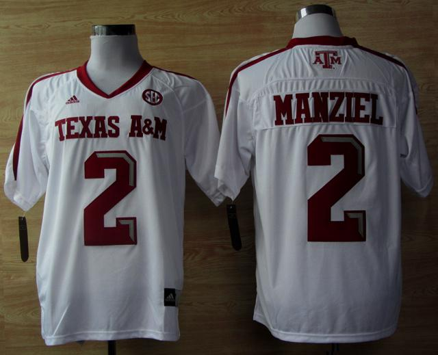 Addidas Texas A&M Aggies Johnny Manziel 2 Football Techfit NCAA Jerseys - White