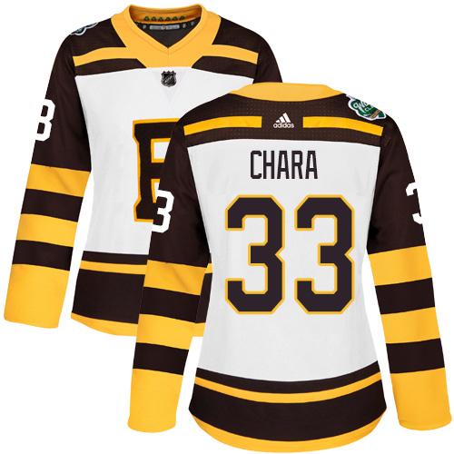 Adidas Bruins #33 Zdeno Chara White Authentic 2019 Winter Classic Women's Stitched NHL Jersey