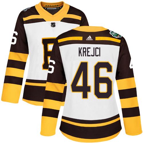 Adidas Bruins #46 David Krejci White Authentic 2019 Winter Classic Women's Stitched NHL Jersey