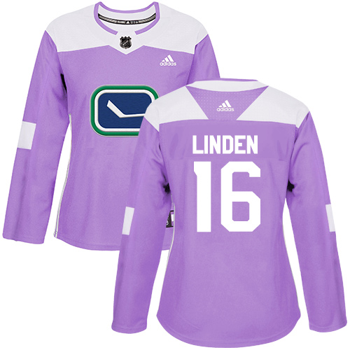 Adidas Canucks #16 Trevor Linden Purple Authentic Fights Cancer Women's Stitched NHL Jersey