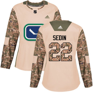 Adidas Canucks #22 Daniel Sedin Camo Authentic 2017 Veterans Day Women's Stitched NHL Jersey