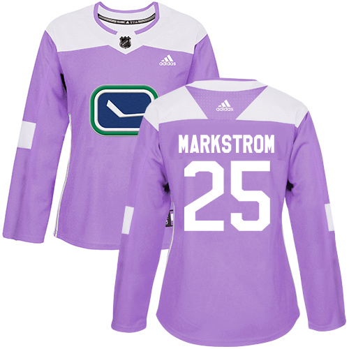 Adidas Canucks #25 Jacob Markstrom Purple Authentic Fights Cancer Women's Stitched NHL Jersey