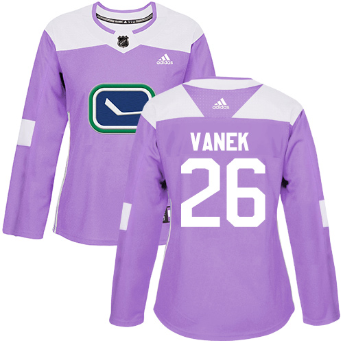 Adidas Canucks #26 Thomas Vanek Purple Authentic Fights Cancer Women's Stitched NHL Jersey