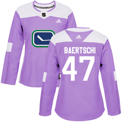 Adidas Canucks #47 Sven Baertschi Purple Authentic Fights Cancer Women's Stitched NHL Jersey
