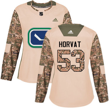Adidas Canucks #53 Bo Horvat Camo Authentic 2017 Veterans Day Women's Stitched NHL Jersey