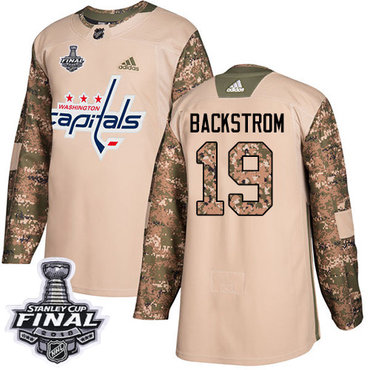 Adidas Capitals #19 Nicklas Backstrom Camo Authentic 2017 Veterans Day 2018 Stanley Cup Final Stitched NHL Jersey