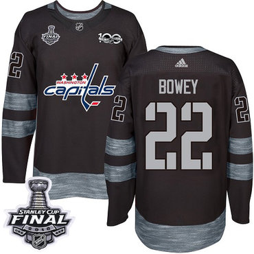 Adidas Capitals #22 Madison Bowey Black 1917-2017 100th Anniversary 2018 Stanley Cup Final Stitched NHL Jersey