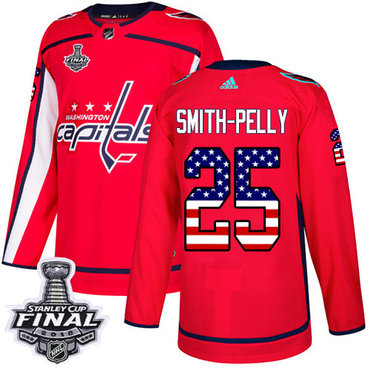 Adidas Capitals #25 Devante Smith-Pelly Red Home Authentic USA Flag 2018 Stanley Cup Final Stitched NHL Jersey