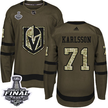 Adidas Golden Knights #71 William Karlsson Green Salute to Service 2018 Stanley Cup Final Stitched NHL Jersey