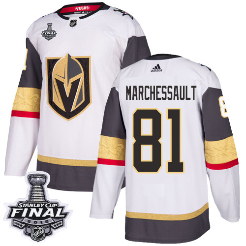 Adidas Golden Knights #81 Jonathan Marchessault White Road Authentic 2018 Stanley Cup Final Stitched NHL Jersey