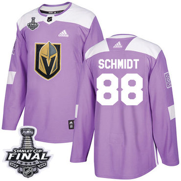 Adidas Golden Knights #88 Nate Schmidt Purple Authentic Fights Cancer 2018 Stanley Cup Final Stitched NHL Jersey