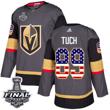Adidas Golden Knights #89 Alex Tuch Grey Home Authentic USA Flag 2018 Stanley Cup Final Stitched NHL Jersey